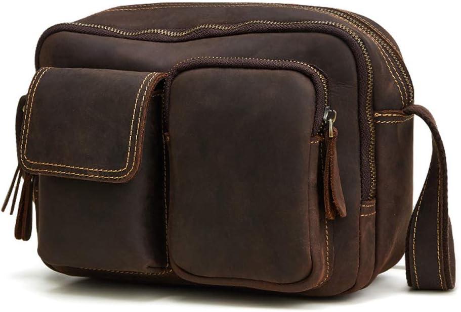 Leather Mens Retro Horse Leather Mens Bag Fashion Casual Messenger Bag Shoulder Bag Mens Travel Bag Mens College Bag Student Bag