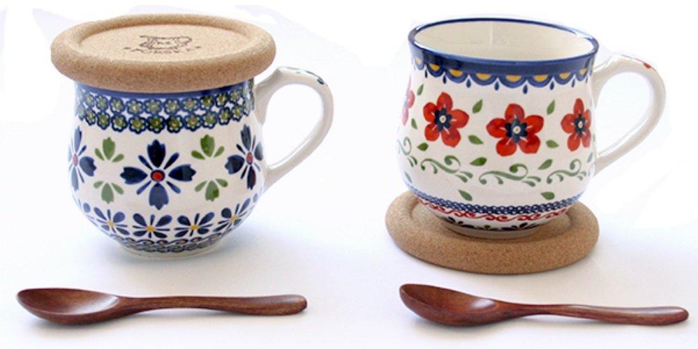 北欧テイスト マグカップ ペア 8.5cm 2柄セット (木製スプーン、コースター付き)