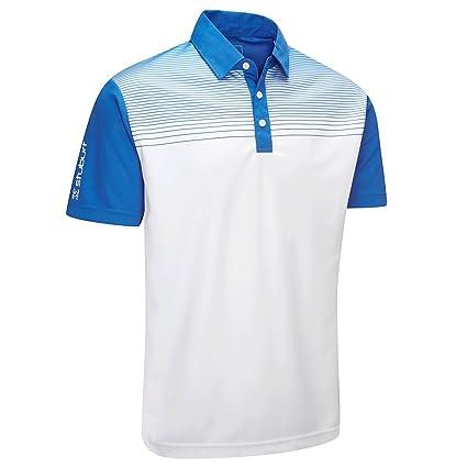 2f16ad09 Stuburt 2018 Mens Dri-Back Endurance Faded Stripe Short Sleeve Golf Polo  Shirt Imperial Blue