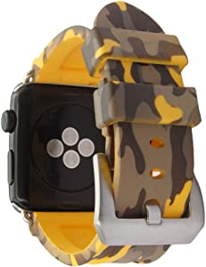 Camo Soft Silicone Sport Strap Bracelet Wristband Compatible for Apple Watch Series 6/ 5/4/3 /2 SE Rubber Band iWatch SE 44/42mm(yellow)