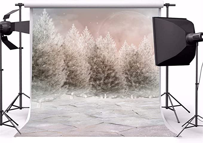 New Year Backdrop Polyester 8x8ft Winter Blurry Snowy Forest Grunge Brick Floor Full Moon Nightscape Background Child Kids Adult Portrait Shoot New Year Celebration Party Banner Studio