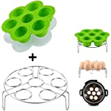 Kspowwin Green Silicone Egg Bites Molds With Stainless Steel Egg Steamer Rack for Instant Pot Accessories Fits Instant Pot 5/6/8 qt Pressure Cooker
