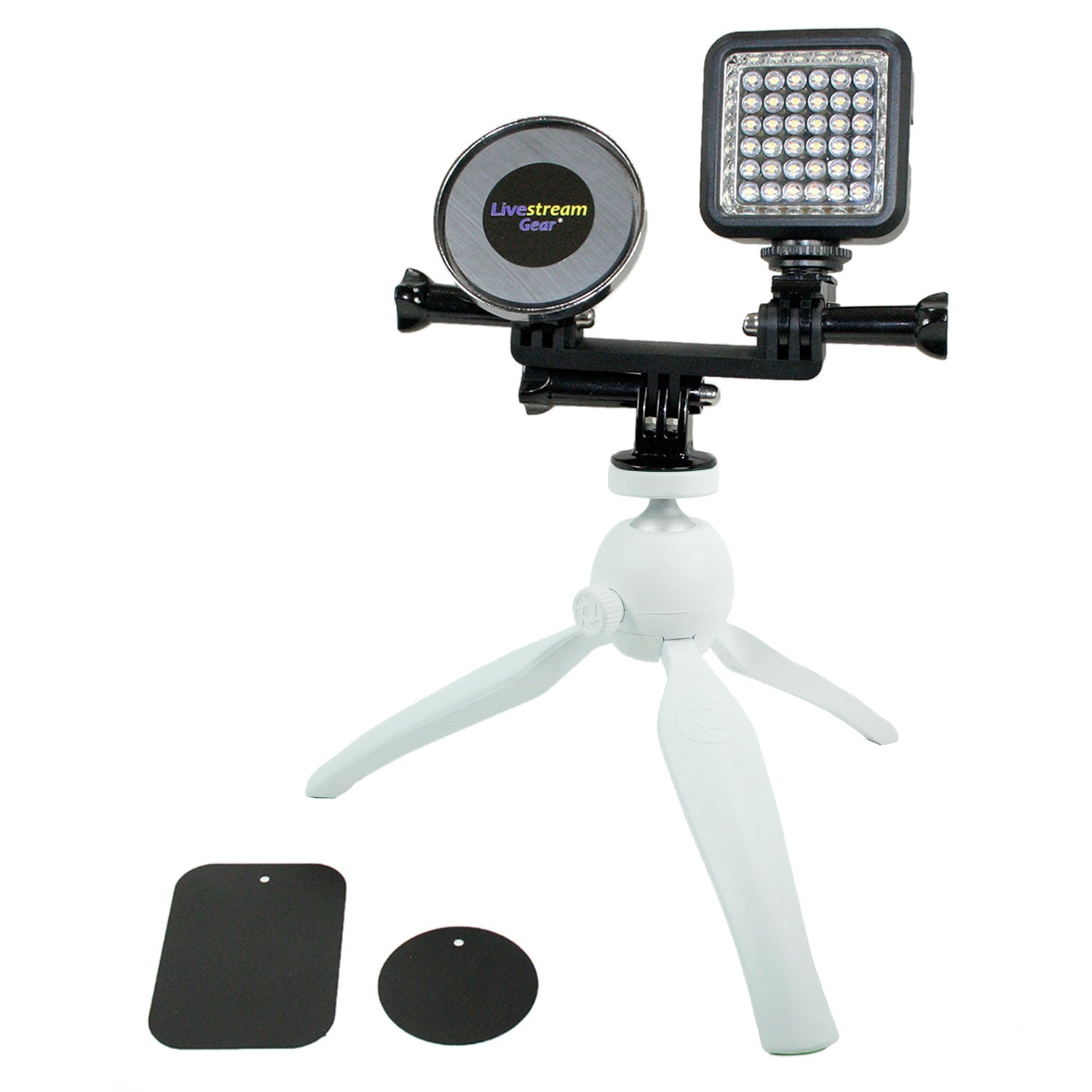 Live Stream Gear - Phone and LED Light Tripod Setup with Magnetic Mount System. Mount Any Phone via Magnet and Metal Plate to This Tripod for Live Stream with LED Lighting. Strong Hold. (White) by Livestream