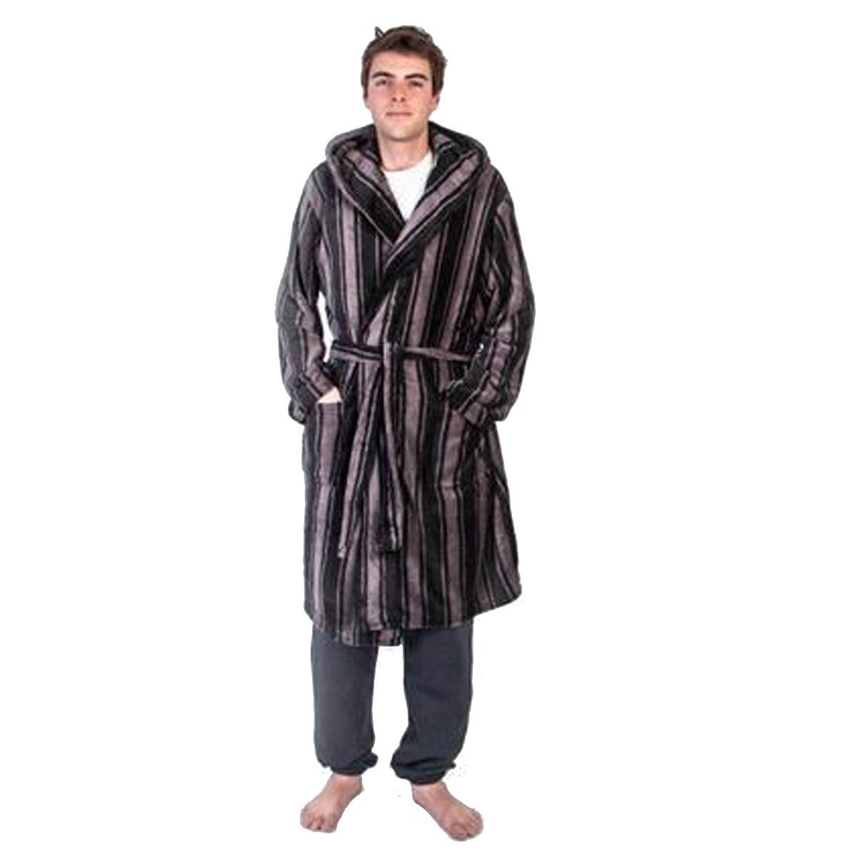 Sleepwear & Robes Men's Clothing Uomo Pile Super Morbido Notte Abito Da Sera Rigato Con Cappuccio Vestaglia