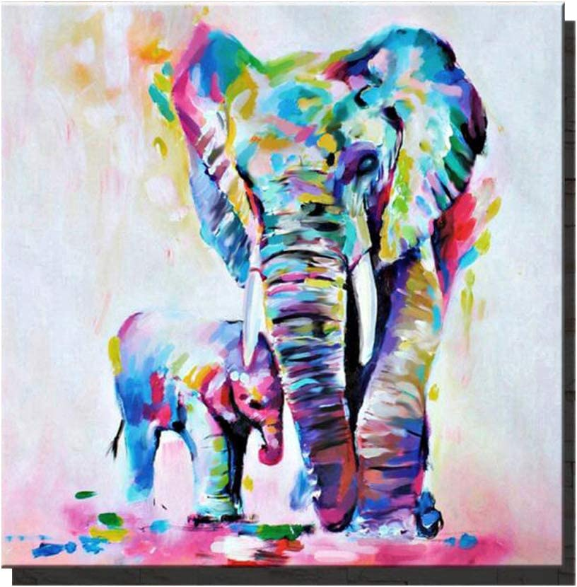 Amazon Com Animal Canvas Wall Art Waltsom Elephant Framed Oil Painting Modern Wall Art For Living Room Bedroom Office Bathroom Stretched Ready To Hang Wall Decoration 16x16inch Posters Prints