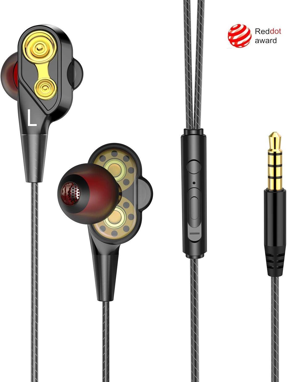 Auriculares In-Ear, iAmotus Auriculares Dual Dynamic Drivers Sonido Estéreo Auriculares con Reducción de Ruido con Micrófono - Alámbrico, Dentro de oído, Binaurale, Intraaural, Diseño en Oro Negro