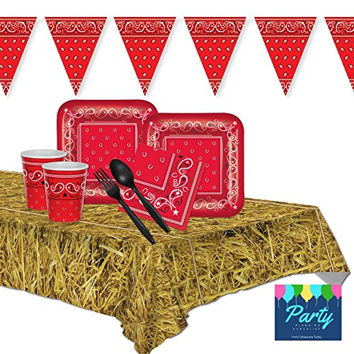FAKKOS Design Western Red Bandana Farm Party Supplies for 16 Guests - Plates, Napkins, Cups, Plasticware, (Cowboy 1st Birthday)
