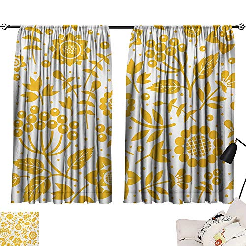 Grey Curtains Yellow Flower,Rustic Composition with Berries Twigs Graphic Flora Nature Leaves Pattern,Yellow White 63