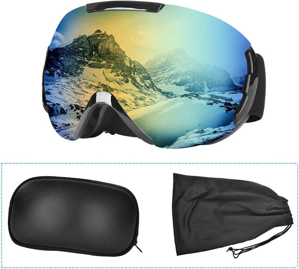 Ski Goggles for Men Women, Frameless OTG, 100 UV Protection, Anti-fogging, VLT15.5 CAT-3 , Double Lens Goggles for Skiing, Snowboarding, Snowmobile