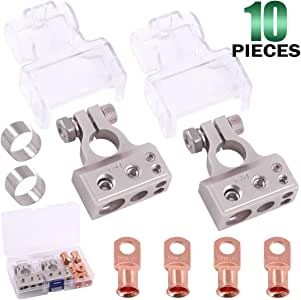 Keadic 0/4/8 or 10 AWG Battery Terminals Positive & Negative with Shims and Transparent Covers, including 4Pcs UL listed Wire Lugs, Perfect for Auto Car Audio Marine Boat Modification - Silver