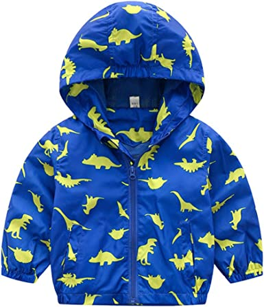Jubestar Jackets for Baby Boys Girls Printing Windproof Rainproof Nylon Hooded Outwear Coat Casual Sweatshirt with Zipper Spring Autumn Winter 1-4 age