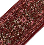 Vintage Sari Border Indian Craft Trim Beaded Embroidered Ribbon Lace Deep Red