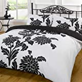 Funky Chrysanthemum Duvet Cover Set, Black, Double