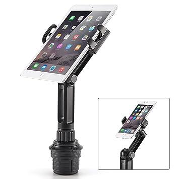 iKross 2-en-1 Soporte Tablet o Móvil para Coche, Coche-Soporte Universal de Portavasos Adjustable para Tablet, iPad, o iPhone Teléfono Smartphone - ...