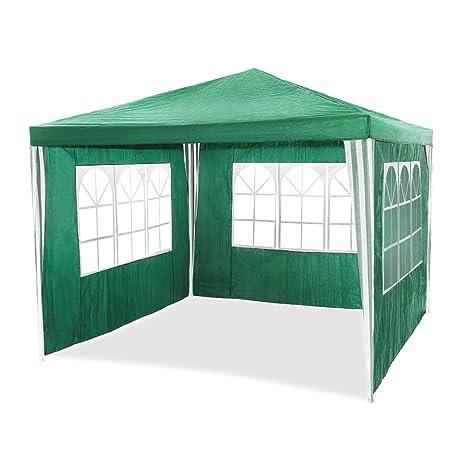 HG Carpa, pavillon, tienda de campaña con cúpula material de polietileno, tubos de acero, 6 laterales y 2 entradas, resistente al agua, Incluye 6 laterales ...