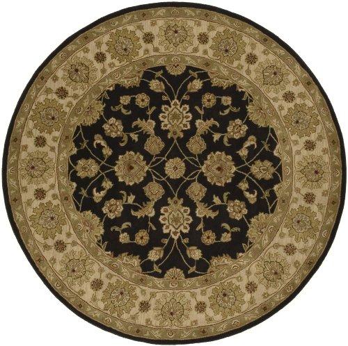 Crowne Beige Rug (Surya Traditional Round Area Rug 8' Charcoal-Beige Crowne)