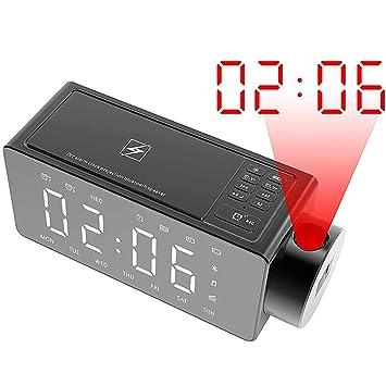 AMY Reloj Despertador De Proyección, Radio FM Digital Reloj ...