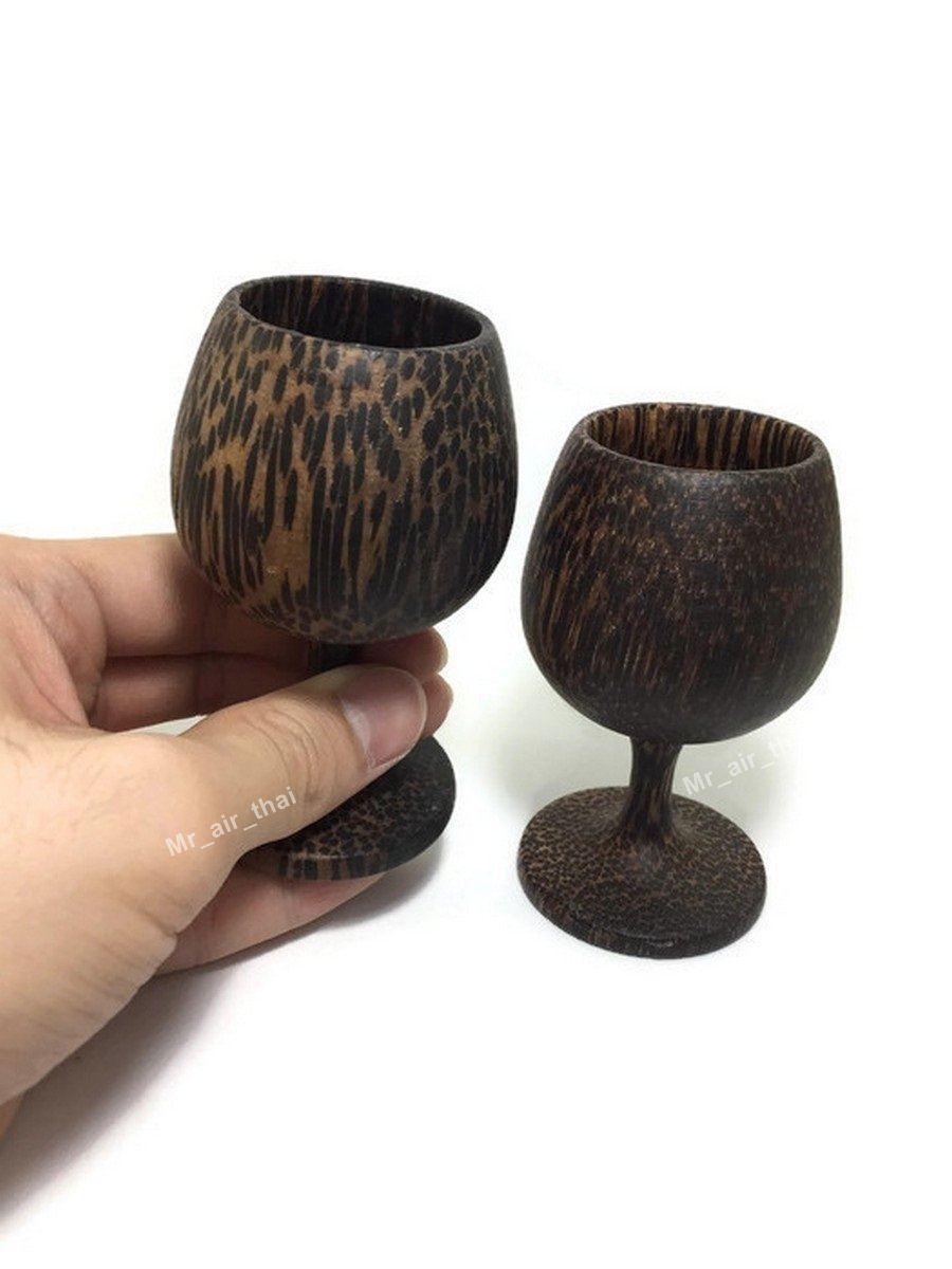 Shot glass Wooden Shot Wine Glasses Set of 2 White Red Wine Holder Handmade (Palm Wood) by Mr_air_thai_Kitchen