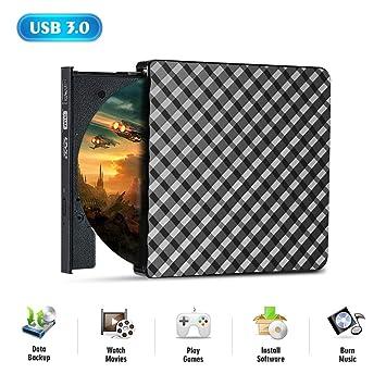 Unidad de DVD, CrazyFire Superspeed USB 3.0 Lector Portátil Reproductor, Ultra Delgado CD DVD