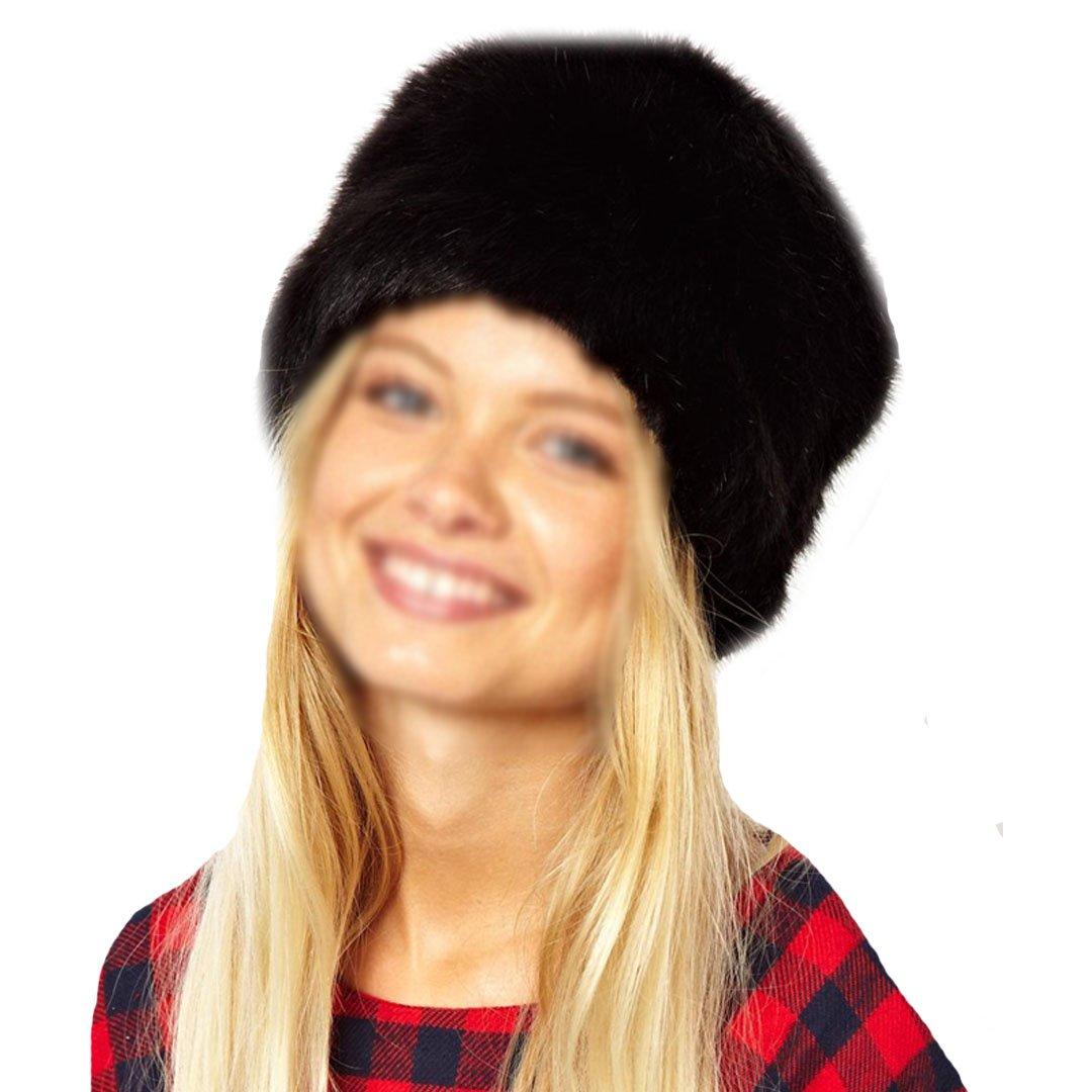 YAOSEN Women Winter Faux Fur Hat Russian Cossack Style Headband Ear Warmer, Black