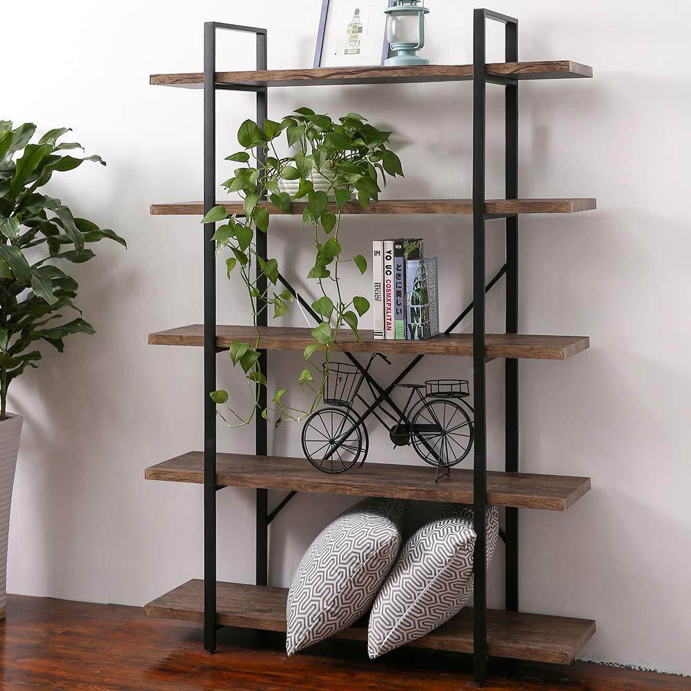 SUPERJARE 5-Shelf Industrial Bookshelf, Open Etagere Bookcase with Metal Frame, Rustic Book Shelf, Storage Display Shelves, Wood Grain - Vintage Brown by SUPERJARE