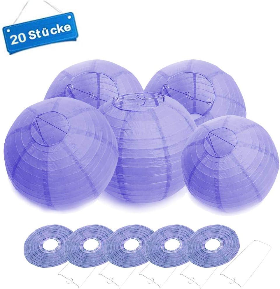 Orange 20 cm FullBerg Lot de 20 lanternes en papier rondes pour f/ête de jardin 8 pouces