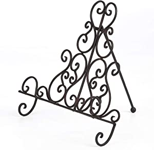 Brogan Metal Cookbook/Tablet/Recipe Book Holder Stand for Kitchen, Symmetry Scroll Work, Bronze