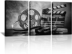 """3 Piece Black and White Canvas Wall Painting Movie Clapper Board Poster Print Filmmaking Pictures Vintage Home Movie Theater Media Room Bar Pub House Decoration Easy to Hang 16""""x 24""""x3 PCS"""