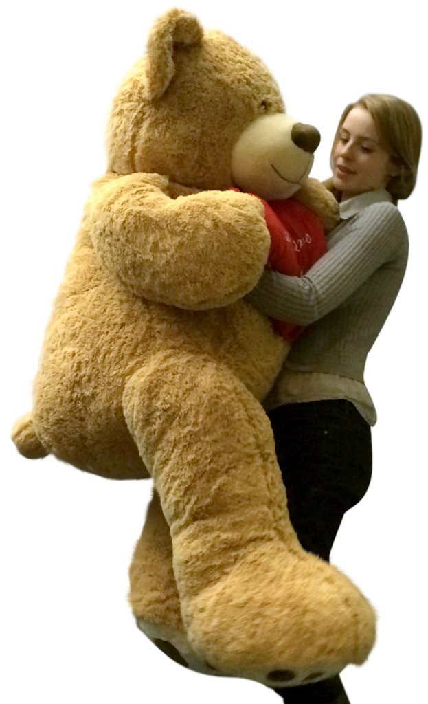 i love you giant teddy bear for valentines day or any day five feet tall squishy soft holds big plush red heart pillow embroidered with the phrase i love