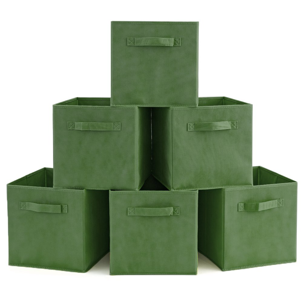 EZOWare Set of 6 Basket Bins Collapsible Storage Organizer Boxes Cube for Nursery Home (Kale Green)