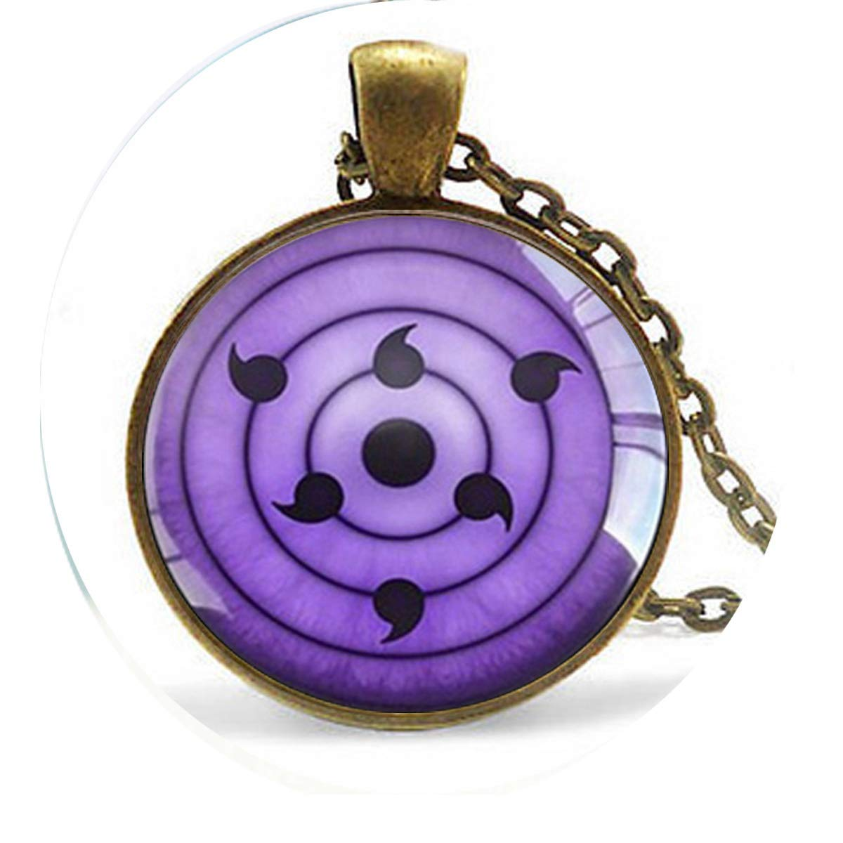 Bohemian Style Long Chain Necklace Rinnegan Eyes Naruto Pendant Glass Dome Necklace Literary Jewelry