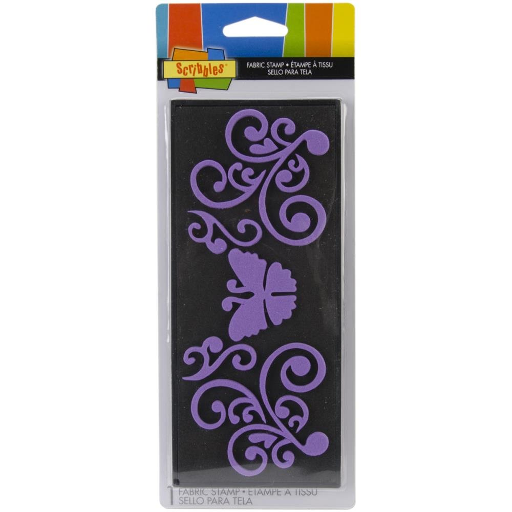 Scribbles Fabric Stamp-Medium Butterfly Scroll