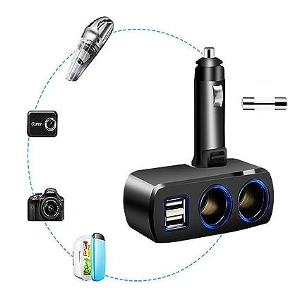 Cargador de Coche EUzeo DC12V-24V 3.1A 80W,Dual USB,2 vías ...