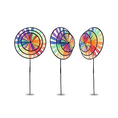 RoseFlower 3 PCS Large Rainbow Wheel Wind Spinner Colourful Lawn Yard Garden Decor Outdoor Decoration, 36CM Diametre: Home & Kitchen