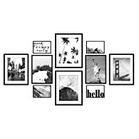 ArtbyHannah Classic Black 10 Pcs Multi Size Gallery Wall Kit Photo Decorative Wall Art Decor Art Prints with Hanging Template Picture Frame Collage Set