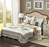 Tache 2 Piece Fall Showers Floral Reversible Patchwork Grey Coverlet Bedspread Quilt Set, Twin
