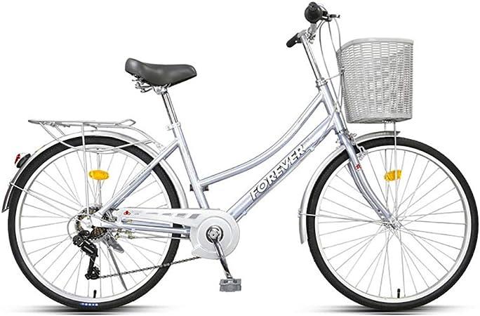 JACKS CAT Bicicleta de Confort para Mujer de 26 Pulgadas, Bicicleta Urbana de 7 velocidades, Crucero de aleación de Aluminio, con Asientos Ajustables y Cesta Delantera, Azul: Amazon.es: Deportes y aire libre