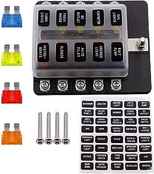 Caja de fusibles de Circuito con 10 fusibles con indicador LED de ...