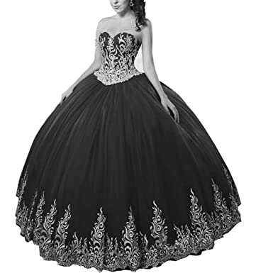 b1523ea66cc DingDingMail Black Beaded Ball Gown Wedding Dresses for Bride 2018  Sweetheart Neckline Appliques Prom Gowns with