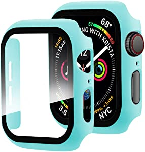 Miimall Compatible with Apple Watch Series 3 2 1 Case with Screen Protector 42mm, Full Coverage Anti-Scratch Screen Protector Matte Protective Case Cover for Apple Watch 42mm Series 3 2 1 Light Blue