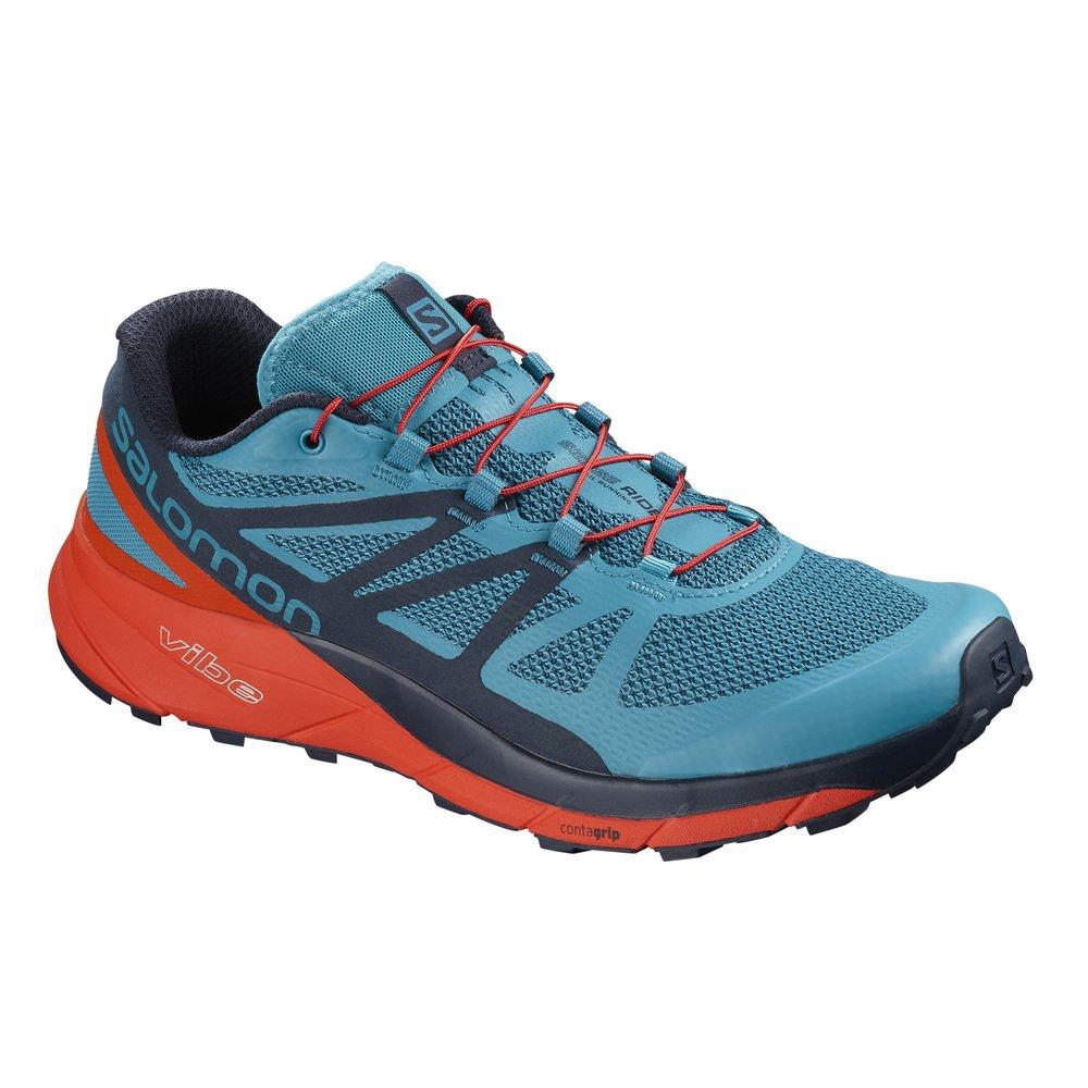 Salomon Sense Ride Running Shoe - Men's B078SYZW15 11.5 D(M) US|Blue/Cherry Tomato/Navy Blazer
