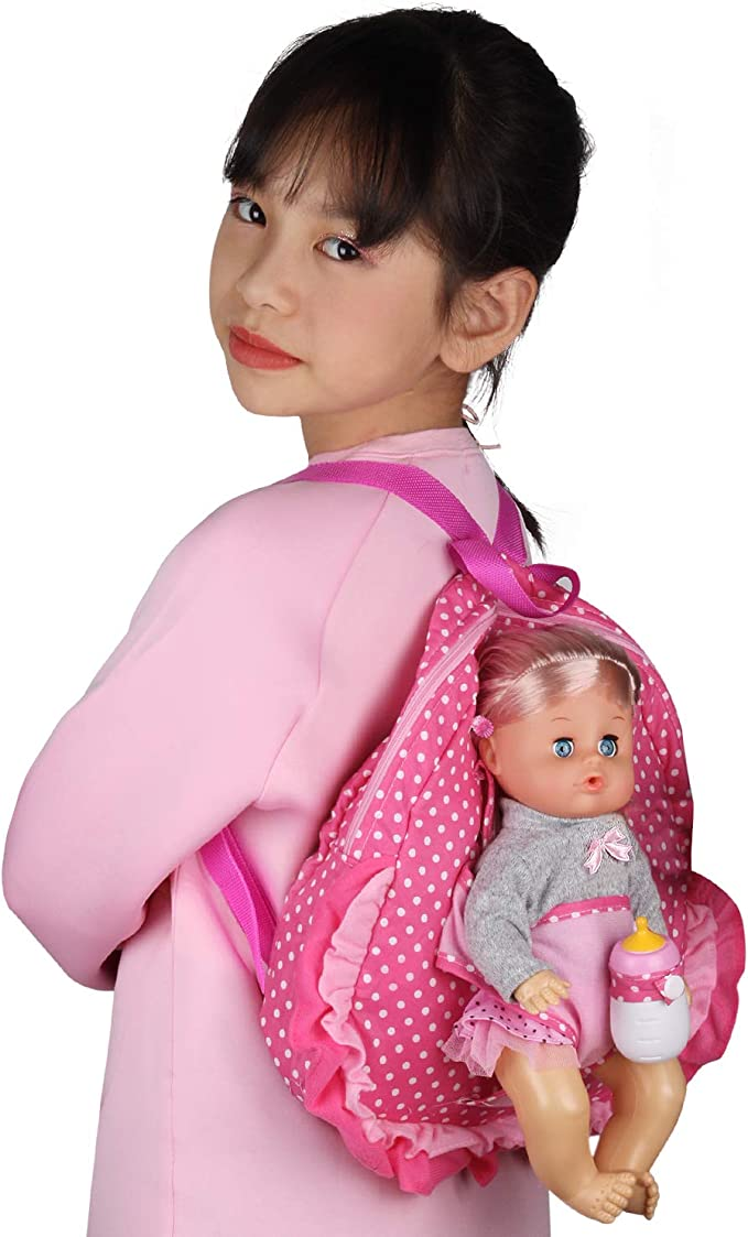 18in Baby Doll Carrier Backpack Toy Shoulder Bag Girl Pretend Play Toys Carring