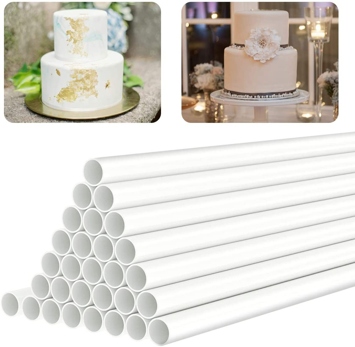 White Plastic Cake Dowel Rods for Tiered Cake Construction and Stacking Supporting Cake Round Dowels Straws with 0.4 Inch Diameter (9.5 Inch)