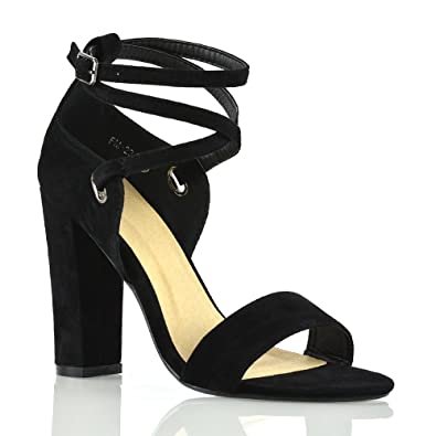 Amazon.com | ESSEX GLAM Womens Ankle Strap Heels Block Open Toe Evening Party Shoes | Heeled Sandals