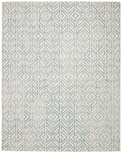 Rivet Modern Geometric Wool Rug, 8' x 10', Blue by Rivet
