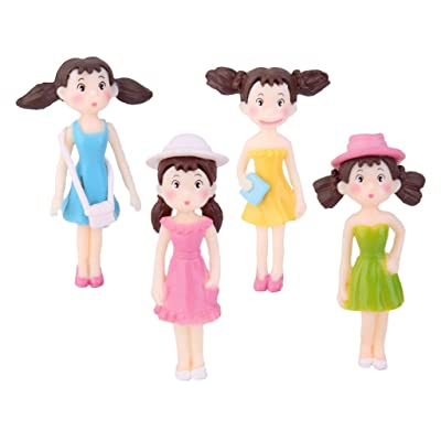 4pcs Miniature Jeune Fille en Robe Décoration Micro Paysage Bonsaï Mini Jardin DIY