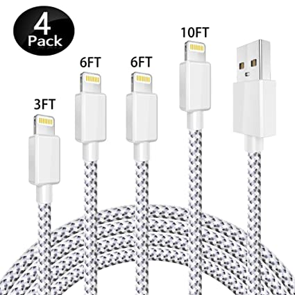 Vivk Charger Cable 4 Pack 10 Ft 6 Ft 6 Ft 3 Ft Long Nylon Braided Usb Fast Charging & Syncing Cord Compatible For I Phone X I Phone 8 8 Plus 7 7 Plus 6s 6s Plus 6 6 Plus I Pad I Pod Nano Silver by Vivk