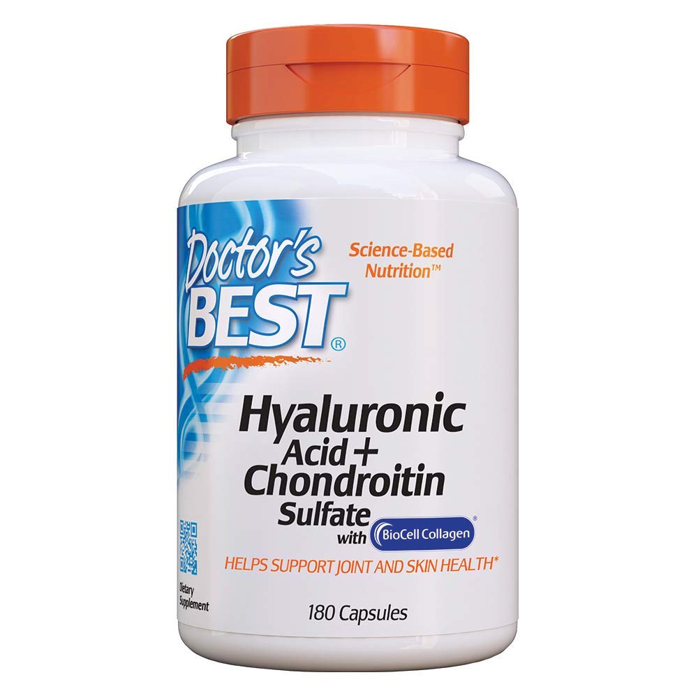 Doctor's Best Hyaluronic Acid with Chondroitin Sulfate, Non-GMO, Gluten Free, Soy Free, Joint Support, 180 Caps by Doctor's Best