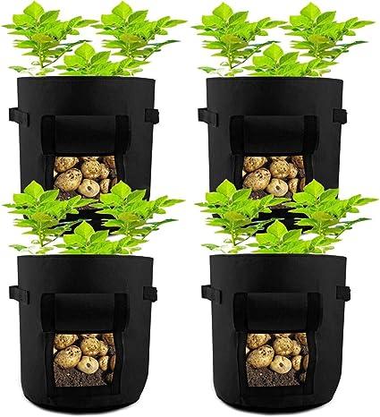 Bolsa de Tela para Cultivo de Plantas de 7 Galones Verduras y Plantas con Asas y Ventana de Velcro 1 Bolsa Verde Bolsas Verticales de Tela Transpirable de Primera Calidad para Patatas