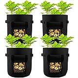 HAHOME 4 Pack 7 Gallon Potato Grow Bag, Garden Planting Bags,Vegetables Planter Bags, Non-Woven Aeration Fabric Pot Growing B